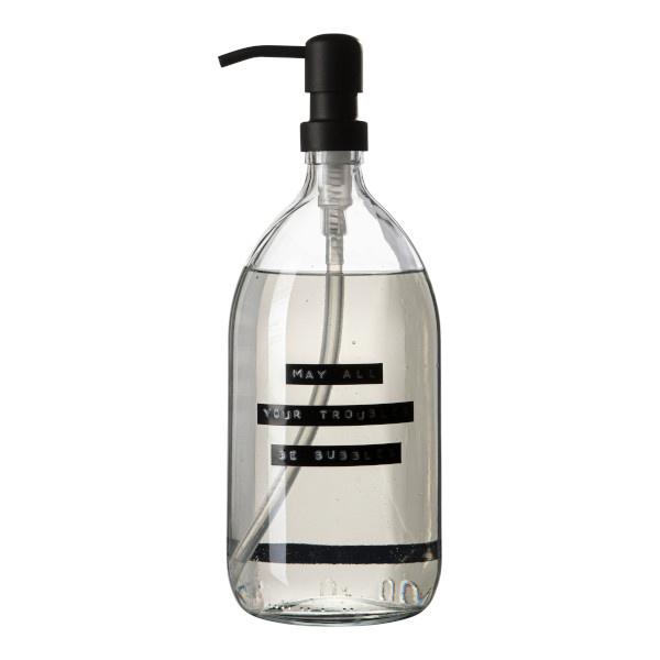 Hand soap fresh linen clear glass black pump 1L 'may all your troubles be bubbles'-1