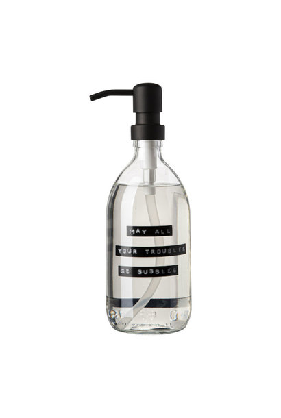Handzeep frisse linnen helder glas zwarte pomp 500ml 'may all your troubles be bubbles'