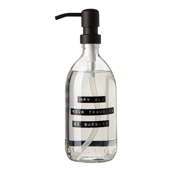 Handzeep frisse linnen helder glas zwarte pomp 500ml 'may all your troubles be bubbles'-1