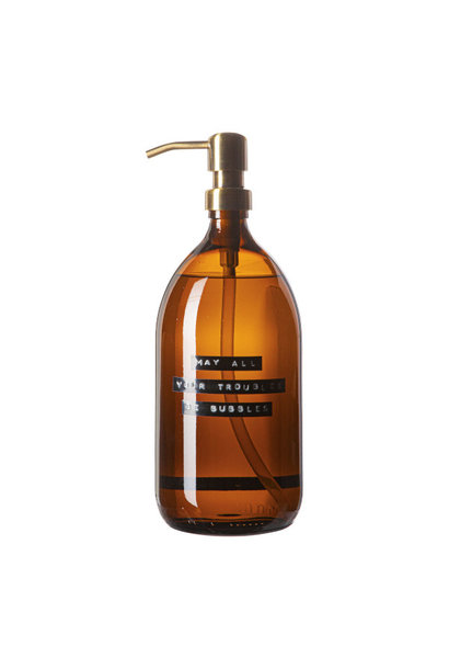 Hand soap bamboo amber glass brass pump 1L 'may all your troubles be bubbles'