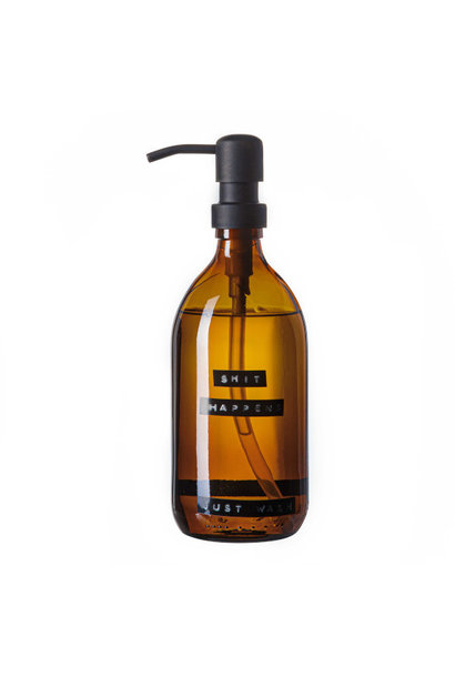 Hand soap bamboo amber glass black pump 500ml 'shit happens just wash'