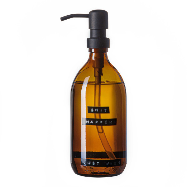 Hand soap bamboo amber glass black pump 500ml 'shit happens just wash'-1