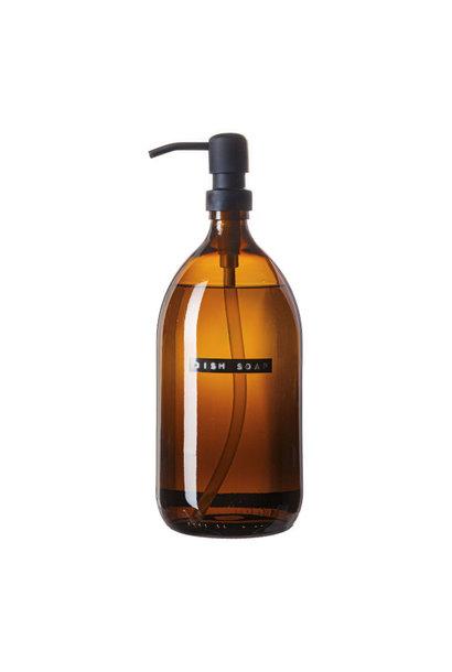 Afwasmiddel bamboe bruin glas zwarte pomp 1L 'dish soap'