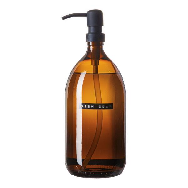 Dish soap bamboo amber glass black pump 1L 'dish soap'-1