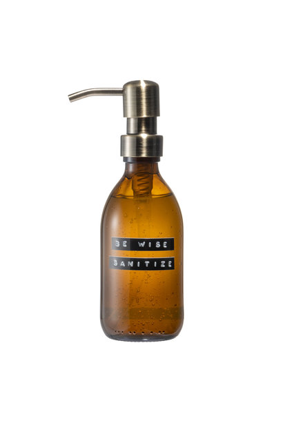 Sanitiser amber glass brass pump 250ml 'be wise sanitize'