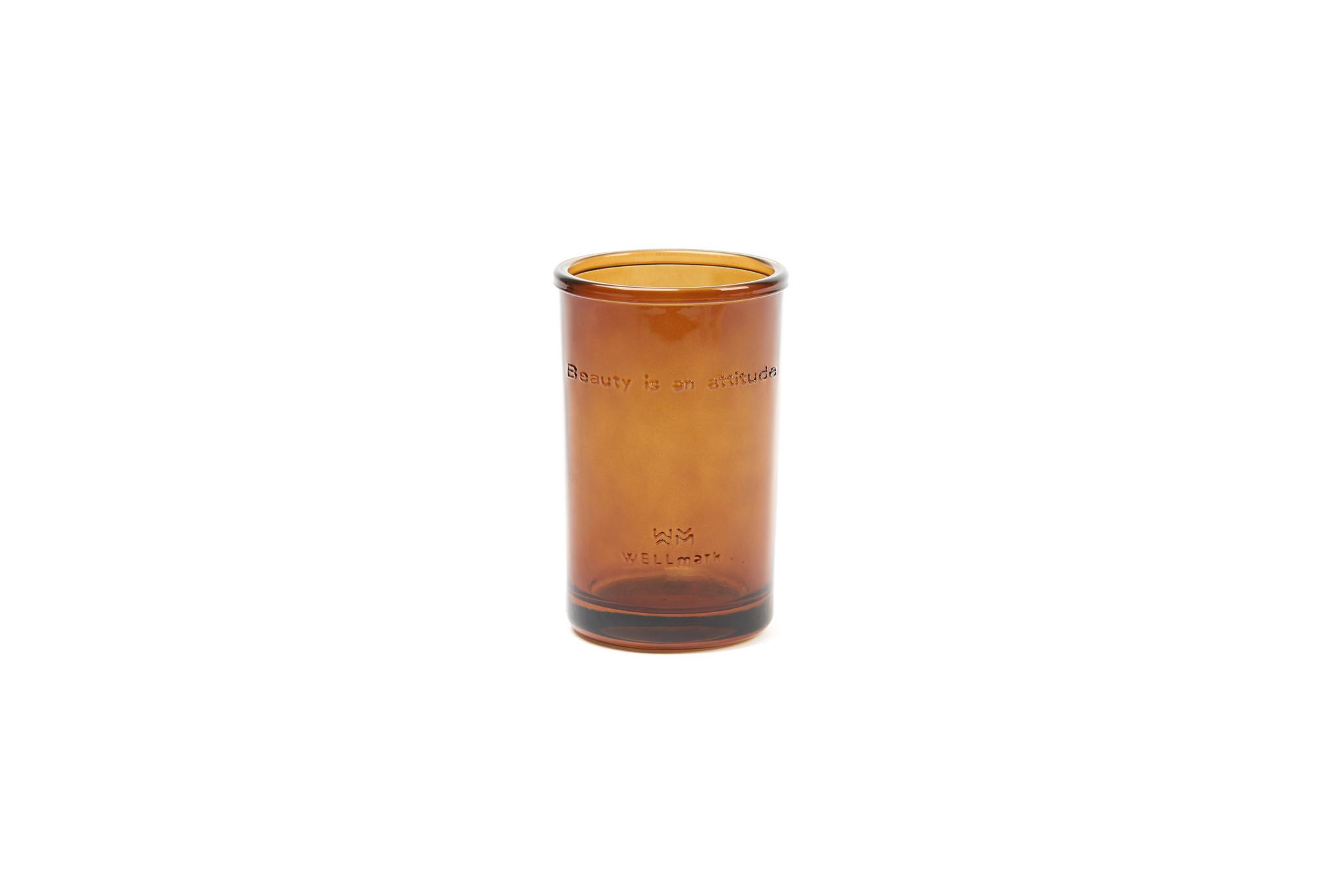 Tandenborstelhouder bruin glas 'Beauty is an attitude'-1