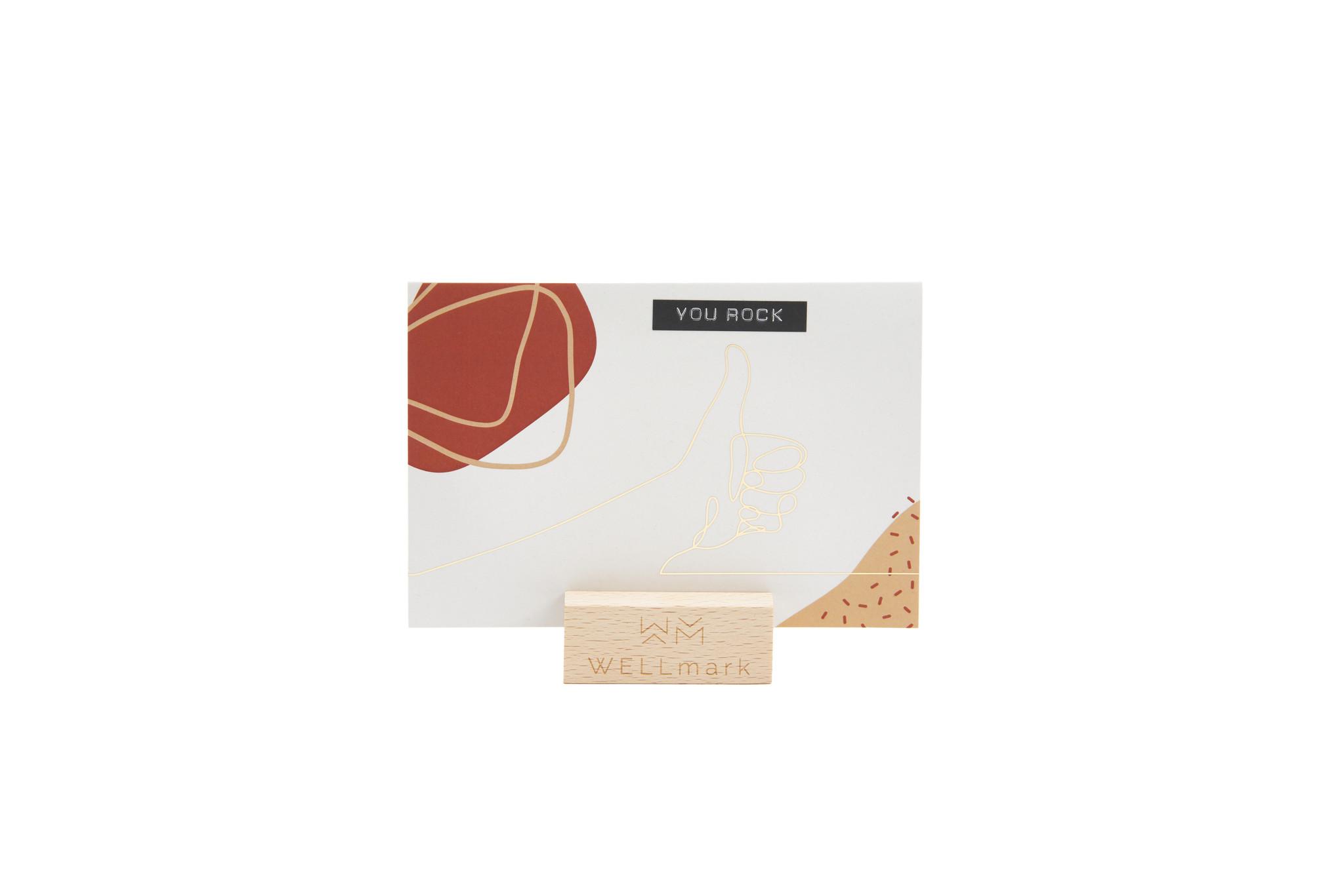 Postcard Gold design recycled duim 'you rock'-1
