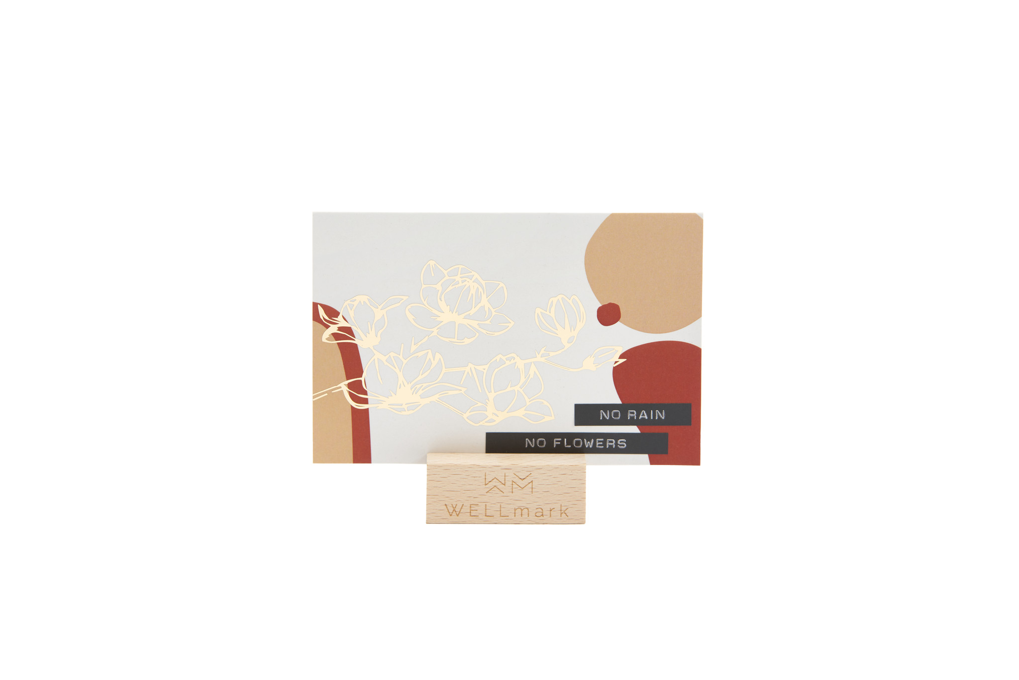 Postcard Gold design recycled flowers 'no rain no flowers'-1