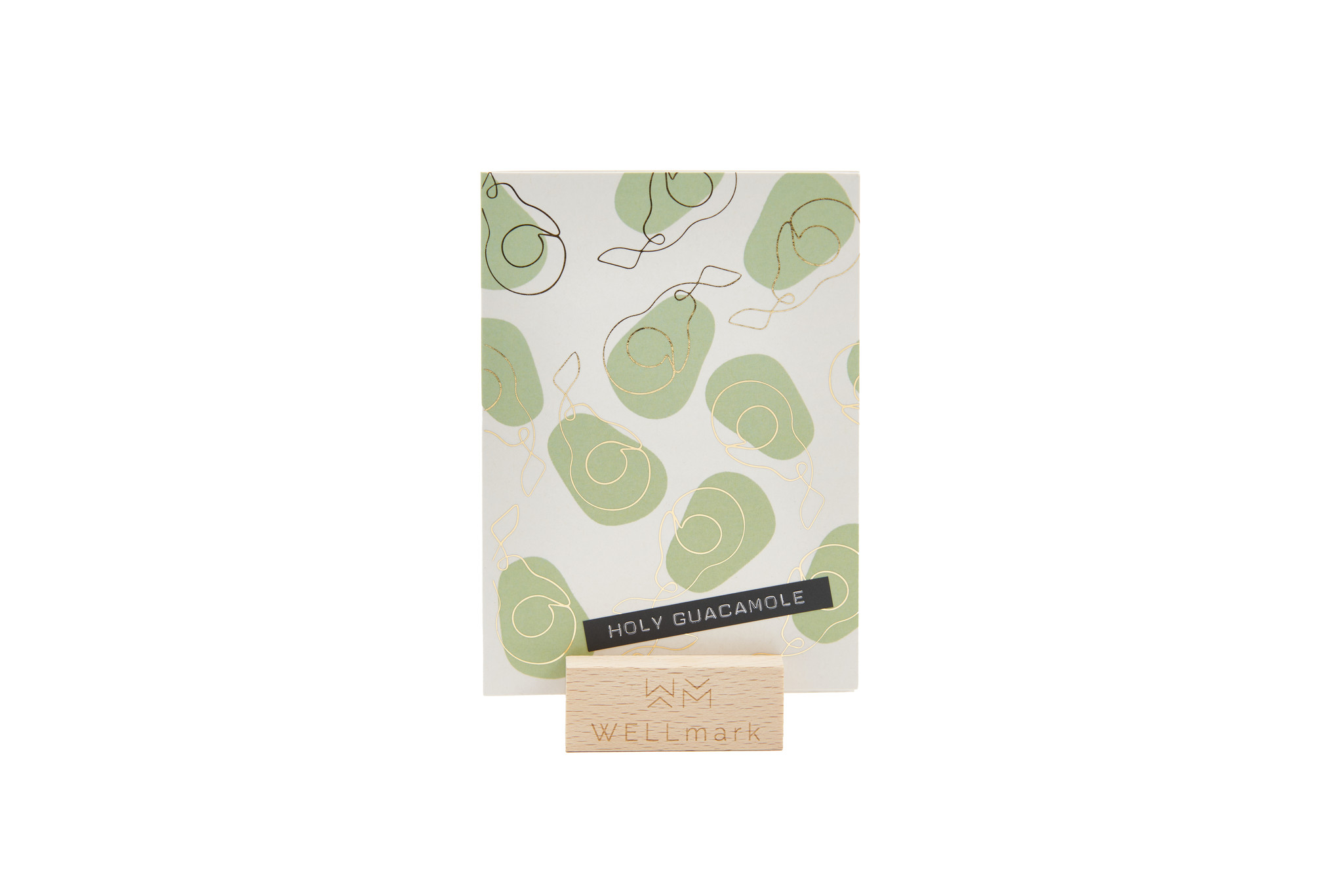 Postcard Gold design recycled avocado 'holy guacamole'-1