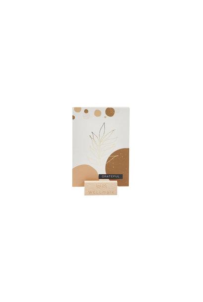 Postcard Gold design recycled leaf 'grateful'