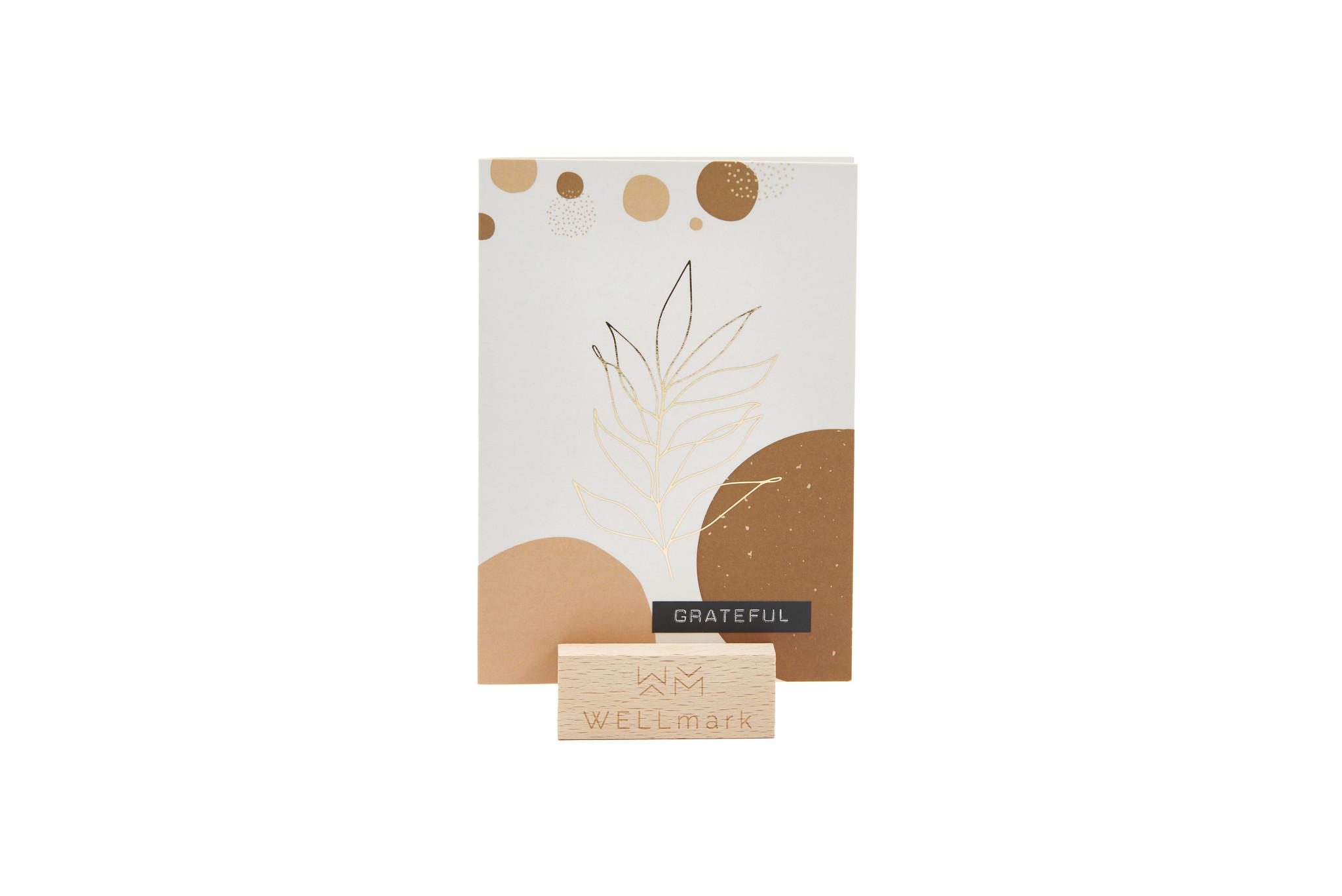Postcard Gold design recycled blaadje 'grateful'-1
