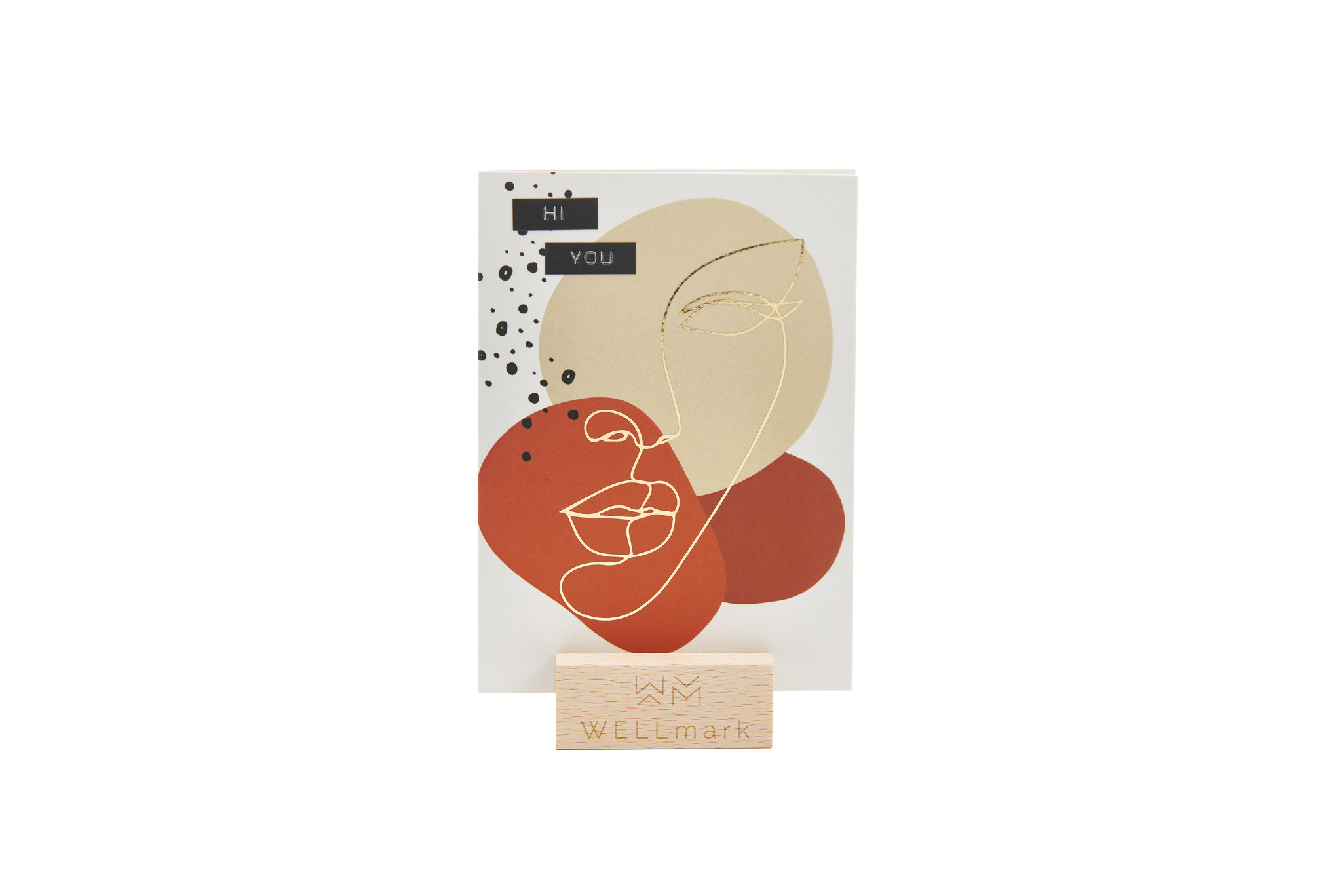 Postcard Gold design recycled face 'hi you'-1