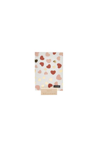 Postcard Gold design recycled hartjes 'love'