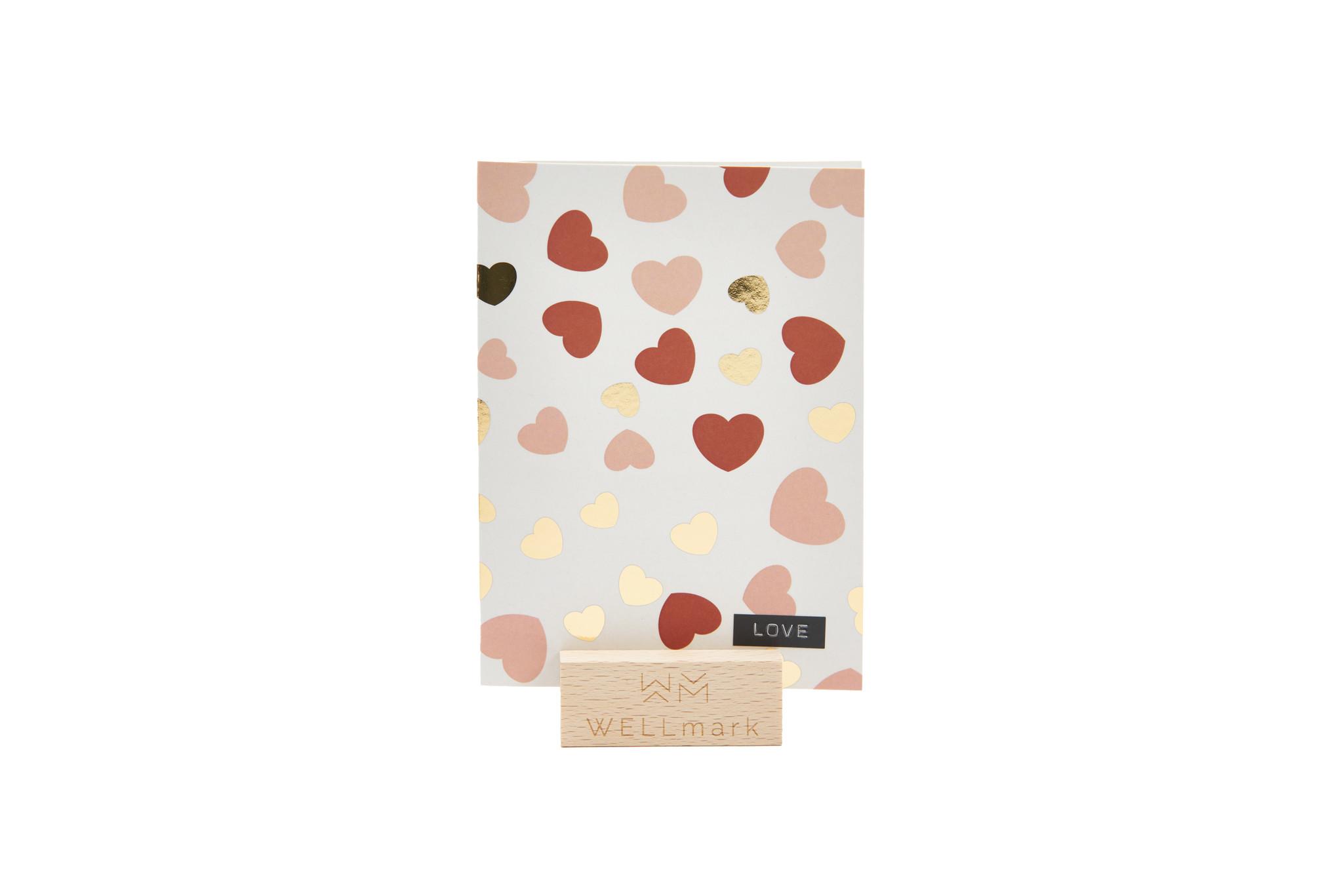 Postcard Gold design recycled hartjes 'love'-1