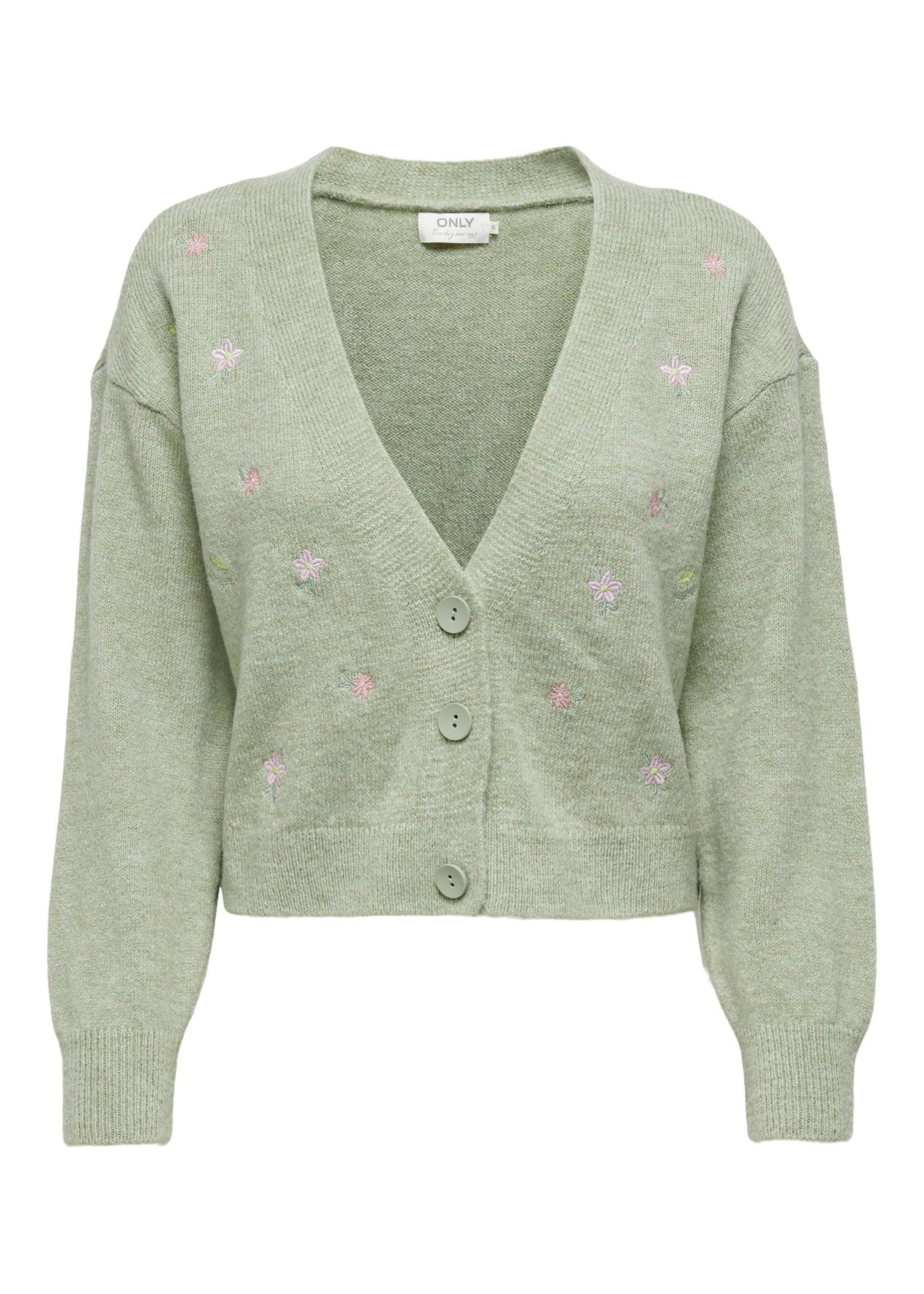 ONLY ANNIE L/S CARDIGAN KNT Pumice Stone W. MELANGE AND EMBROIDERY ARTWORK