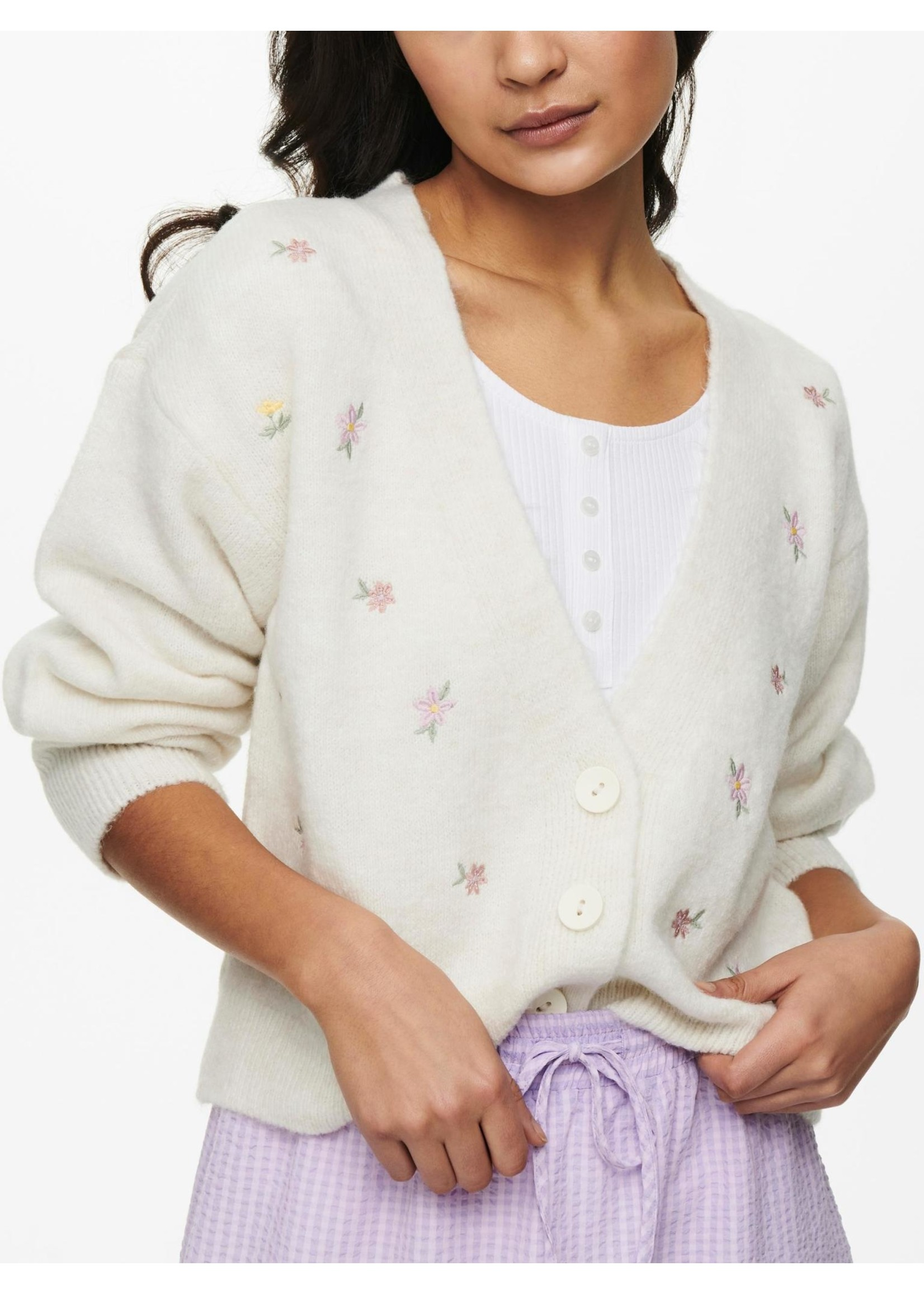 ONLY ANNIE L/S CARDIGAN KNT Desert Sage W. MELANGE AND EMBROIDERY ARTWORK