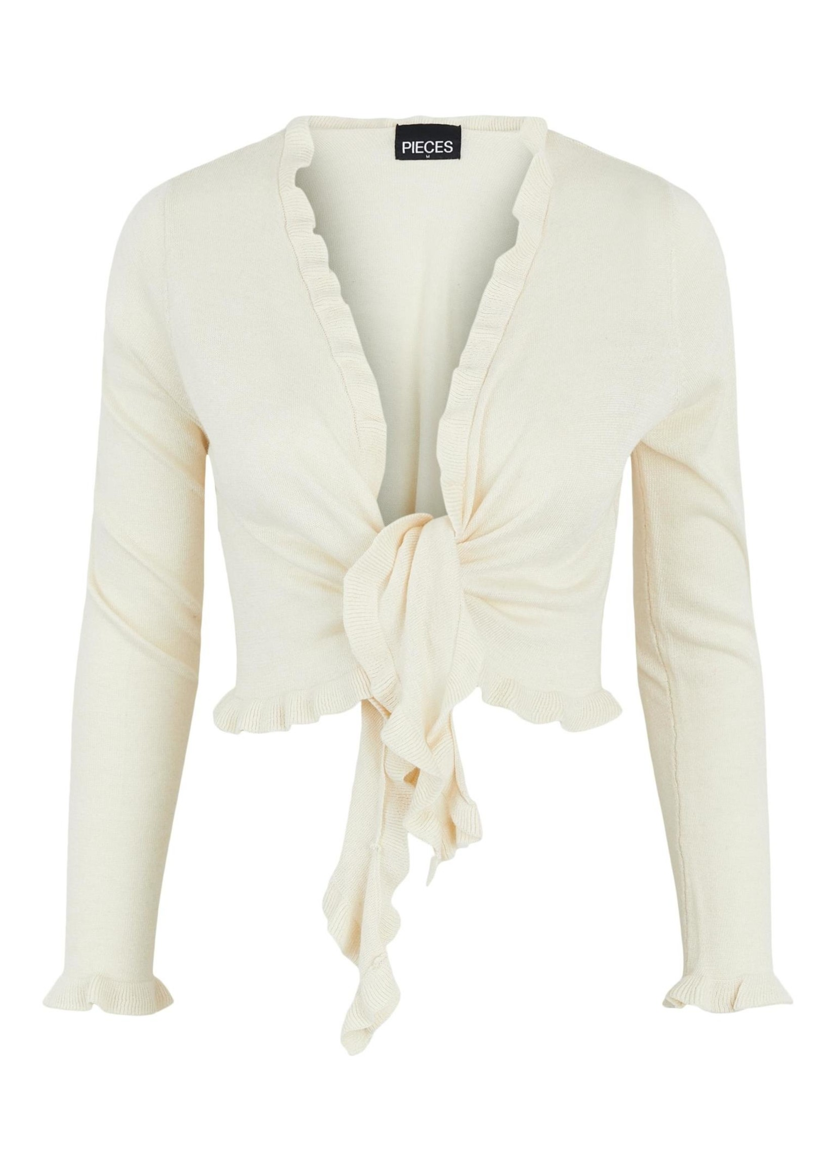 PIECES TINLEY LS CROPPED WRAP CARDIGAN BC Buttercream