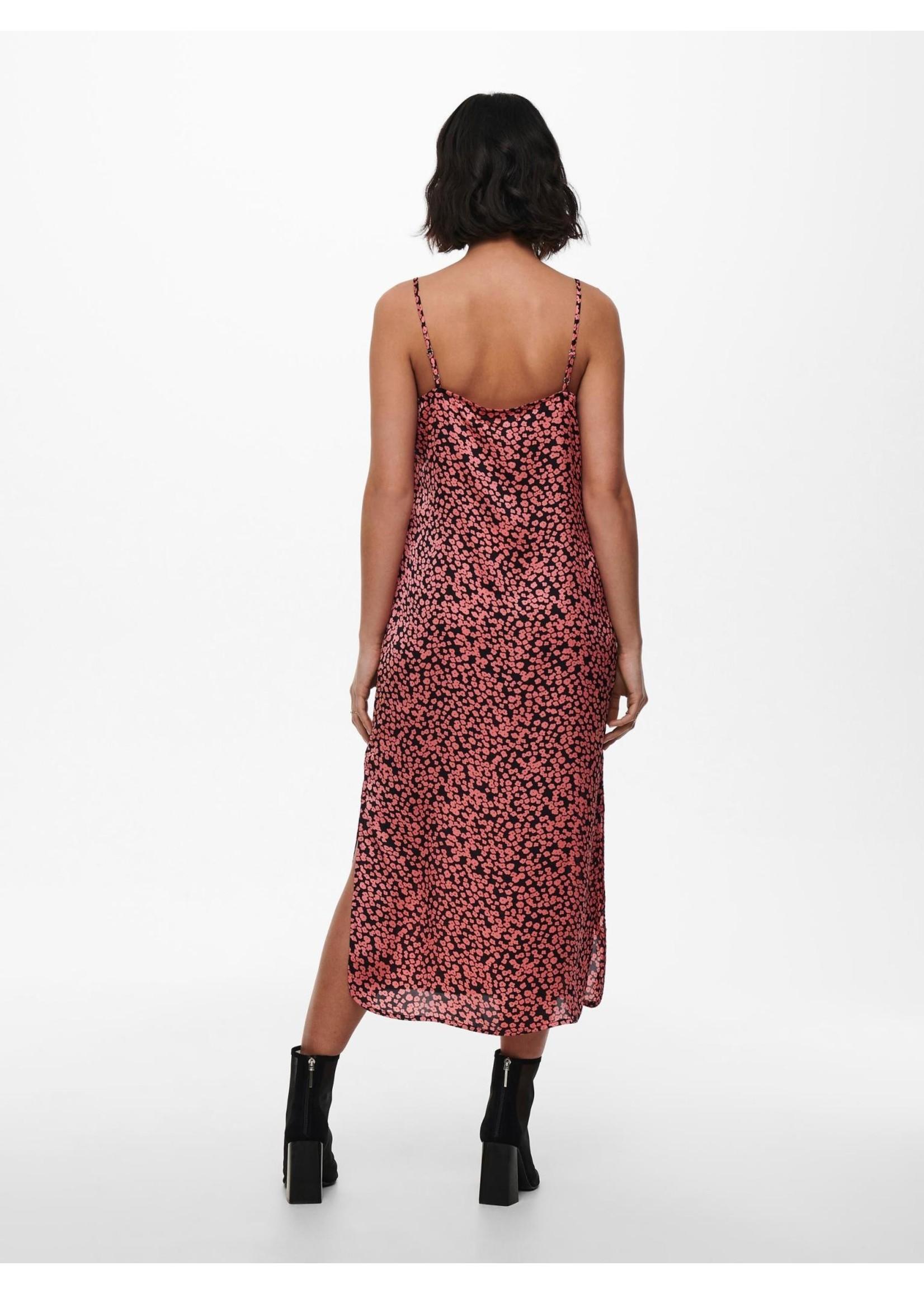 ONLY MAARIA LIFE SATEEN AOP SLIP DRESS TL Black strawberry pink aop