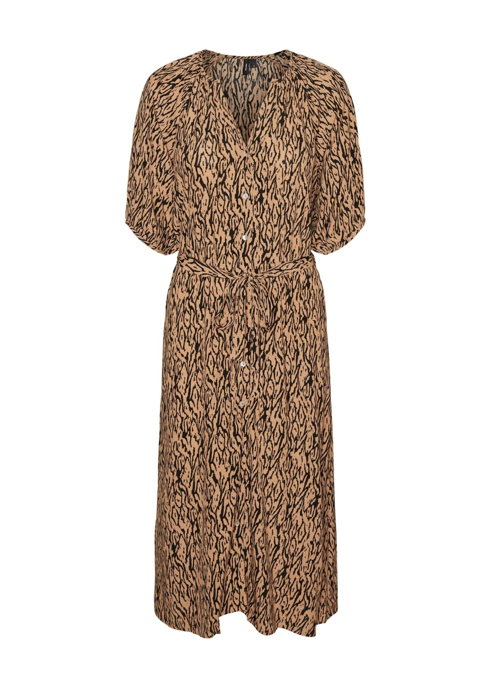 VERO MODA PILOU 2/4 CALF SHIRT DRESS WVN GA tan pilou