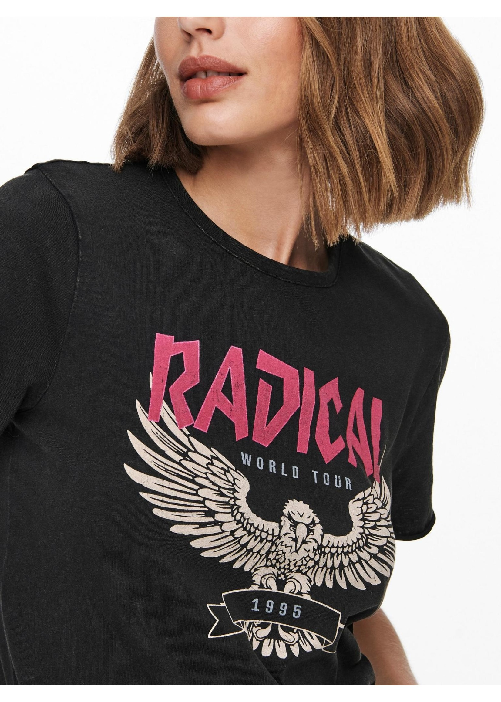 ONLY LUCY LIFE REG S/S ELECTRIC TOP JRS black radical