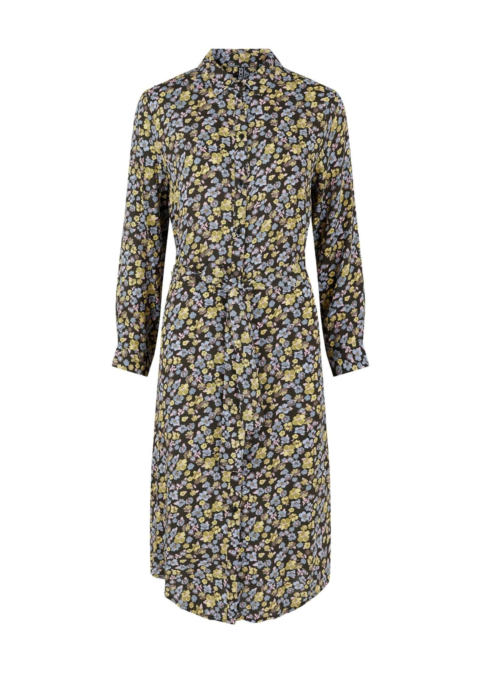 PIECES ELLIA 7/8 MIDI SHIRT DRESS PB BC rosin flowers