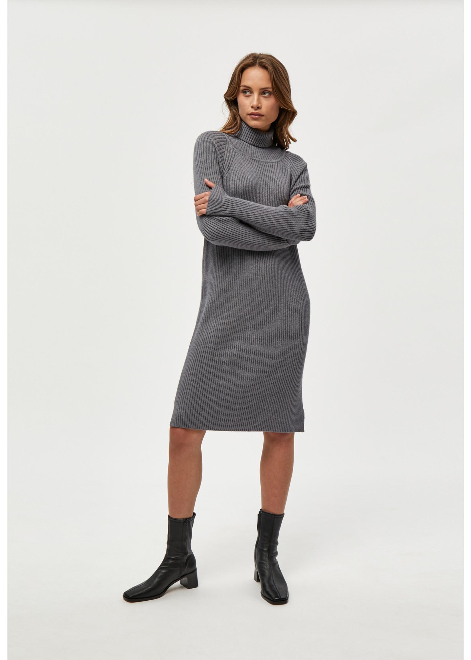 MINUS AVA KNIT TURTLENECK DRESS light grey melange