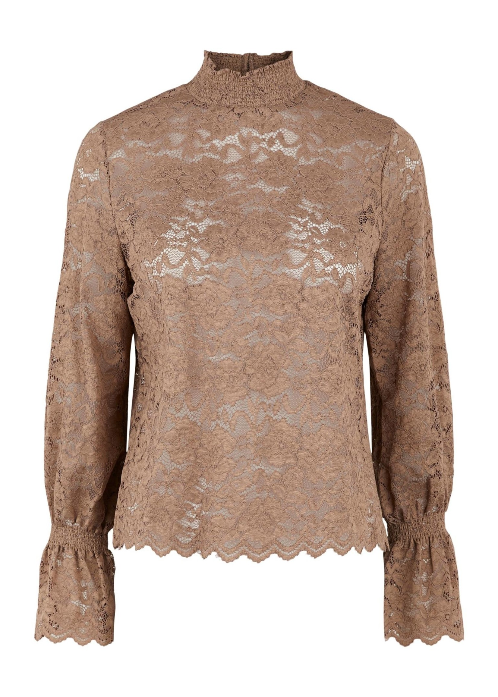 PIECES EMILY LS LACE TOP taupe gray