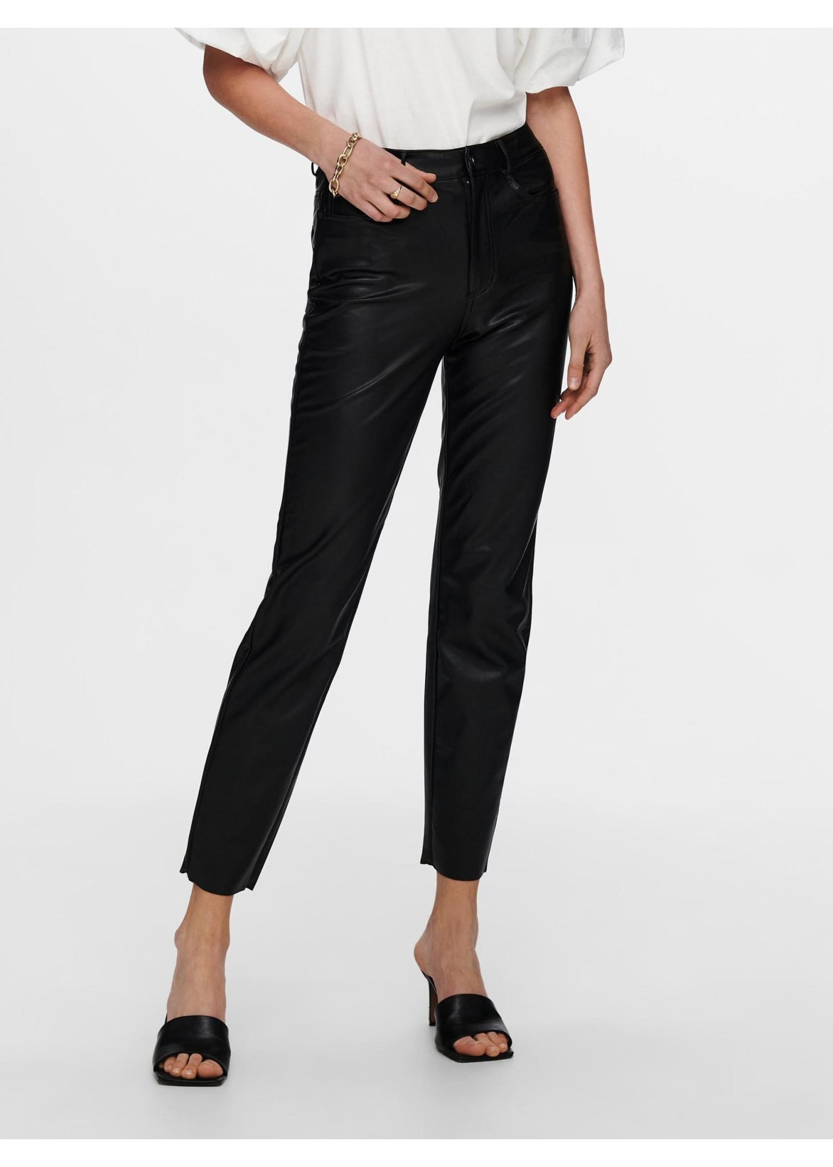 ONLY Emily HW ST ANK FAUX LEATHER PNT,black