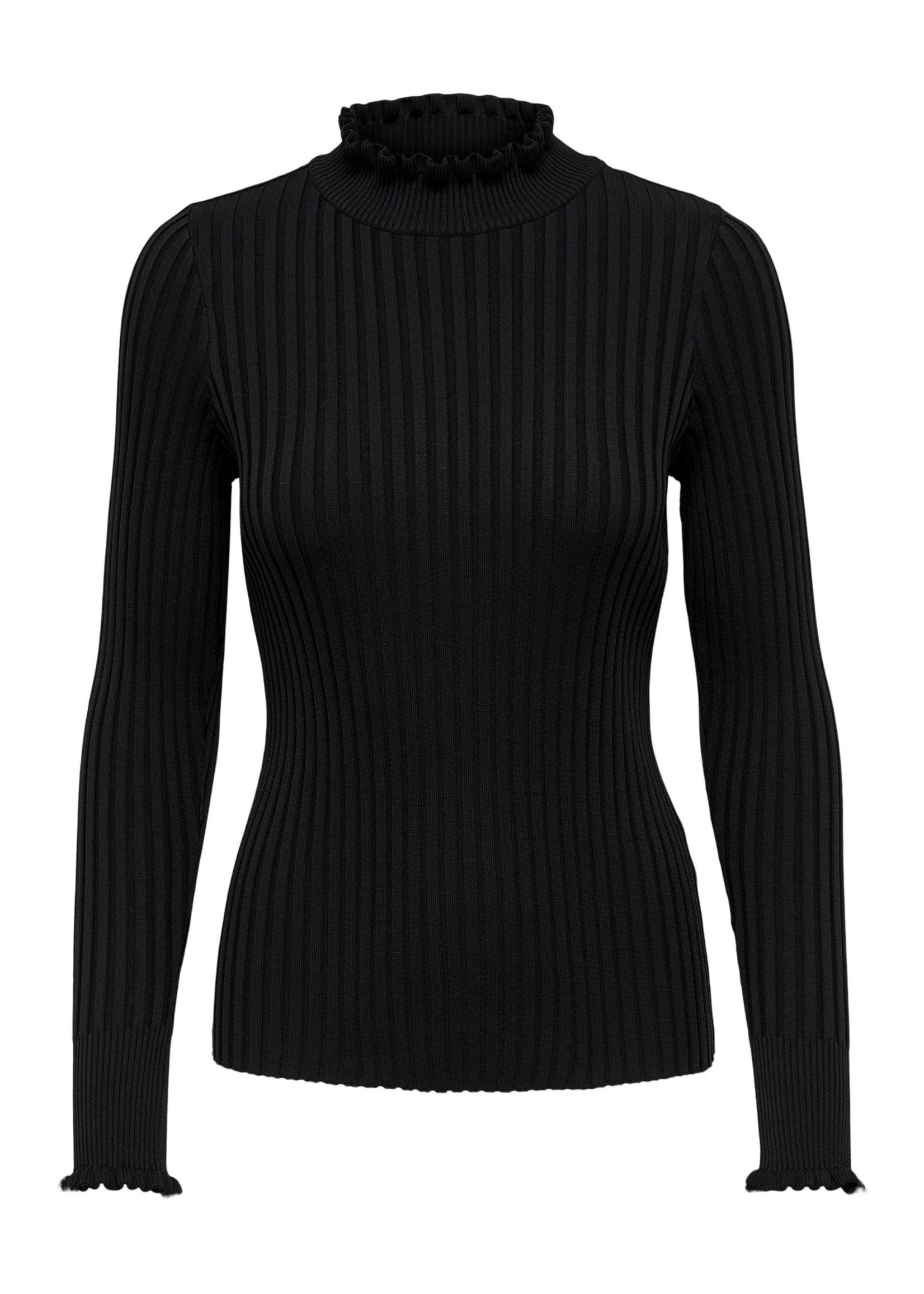 ONLY KELCI L/S RUFFLE PULLOVER KNT,black