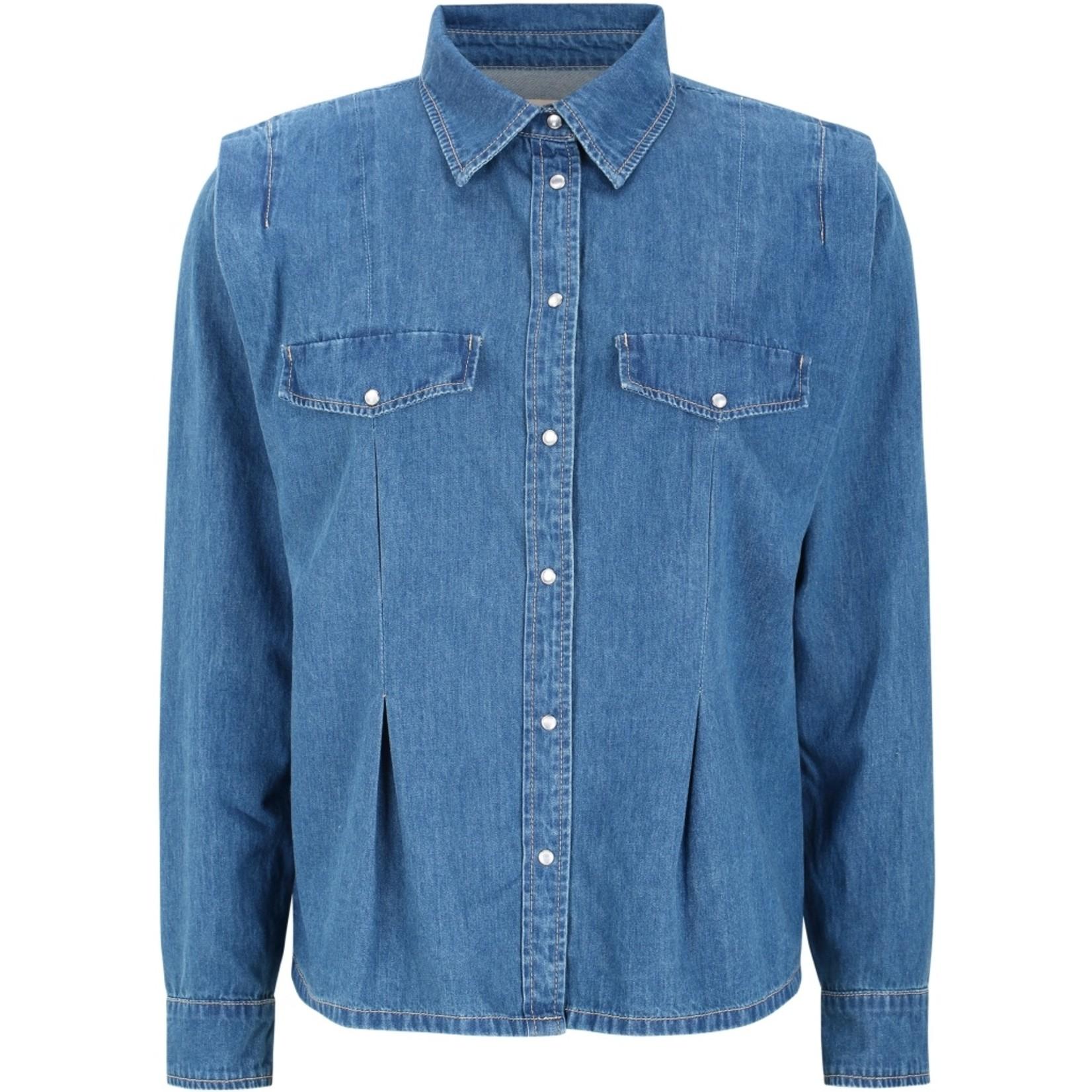 SOFT REBELS BLUEBELL LS SHIRT, spijker blouse