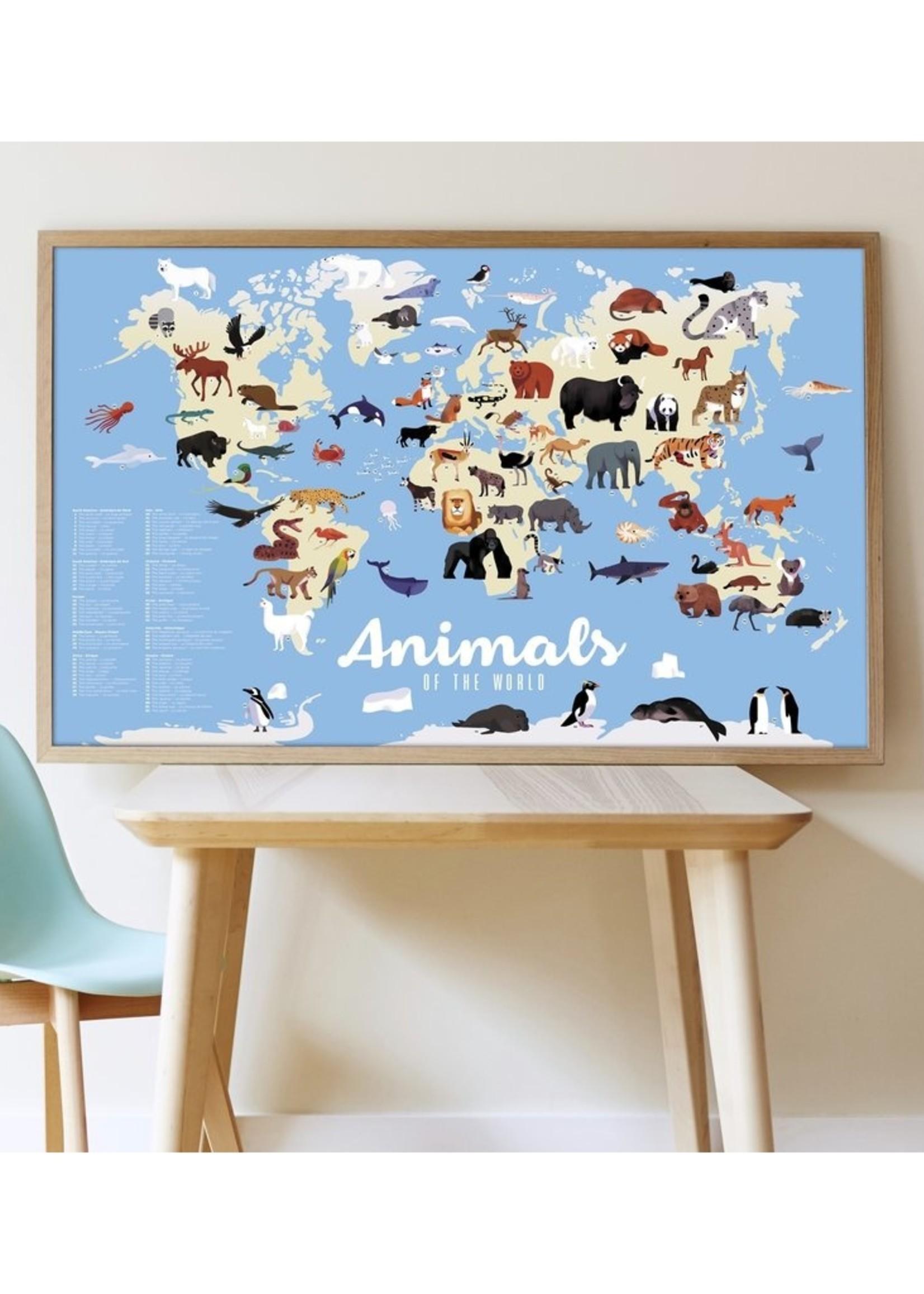 Poppik Stickerposter - Dieren van de wereld