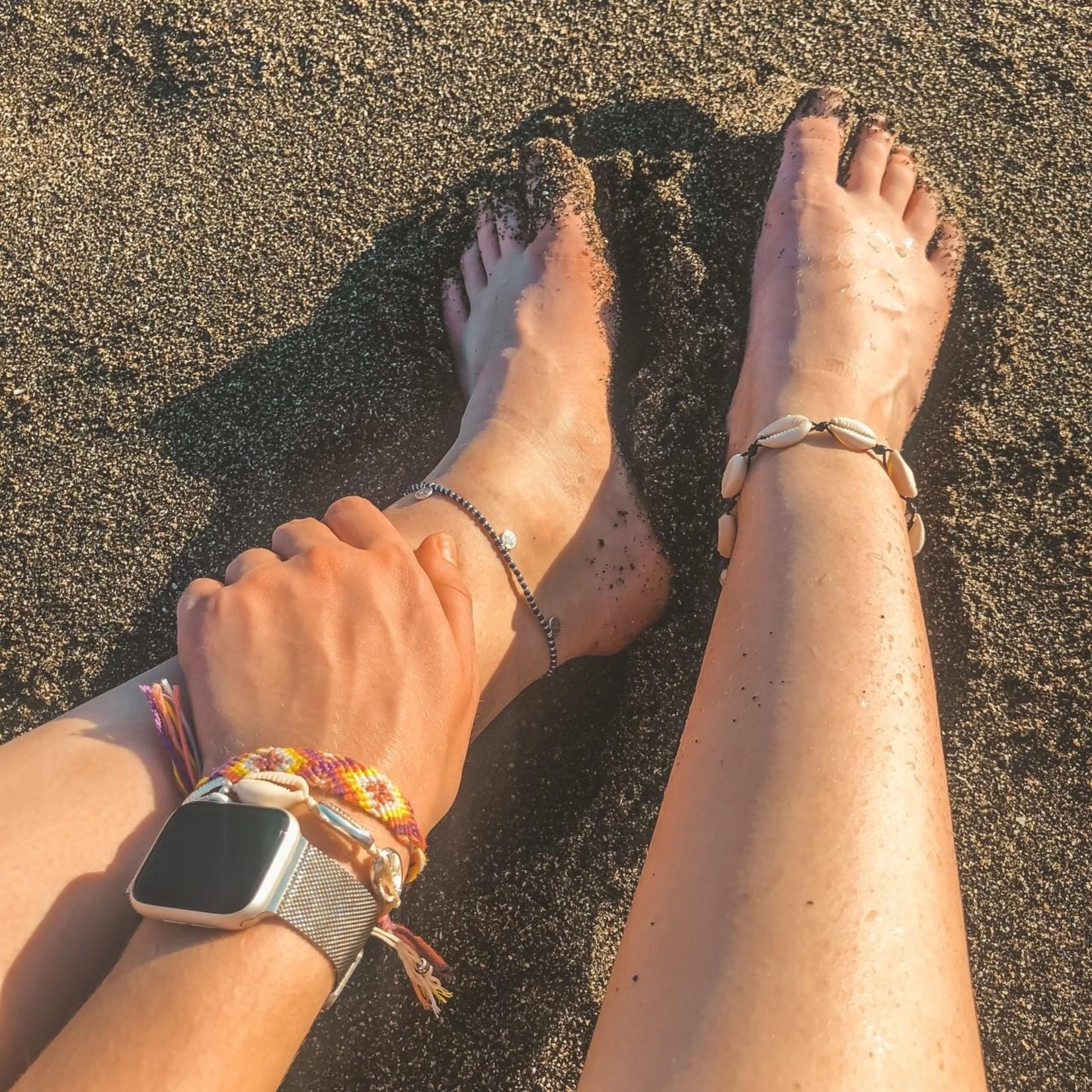 Boho Beach Enkelbandje Muntjes - blauw