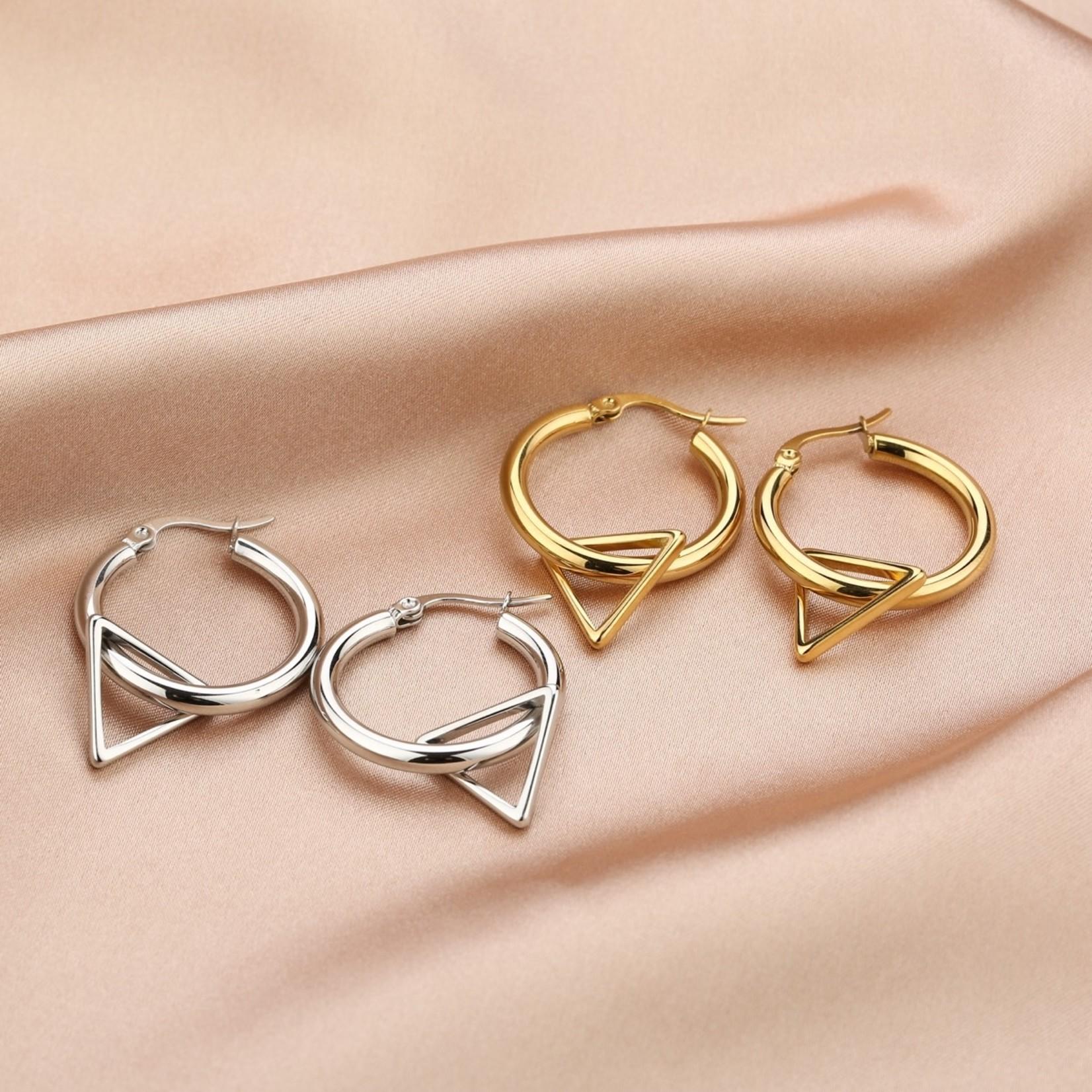Sunset Fashion Oorringen Driehoek - zilver