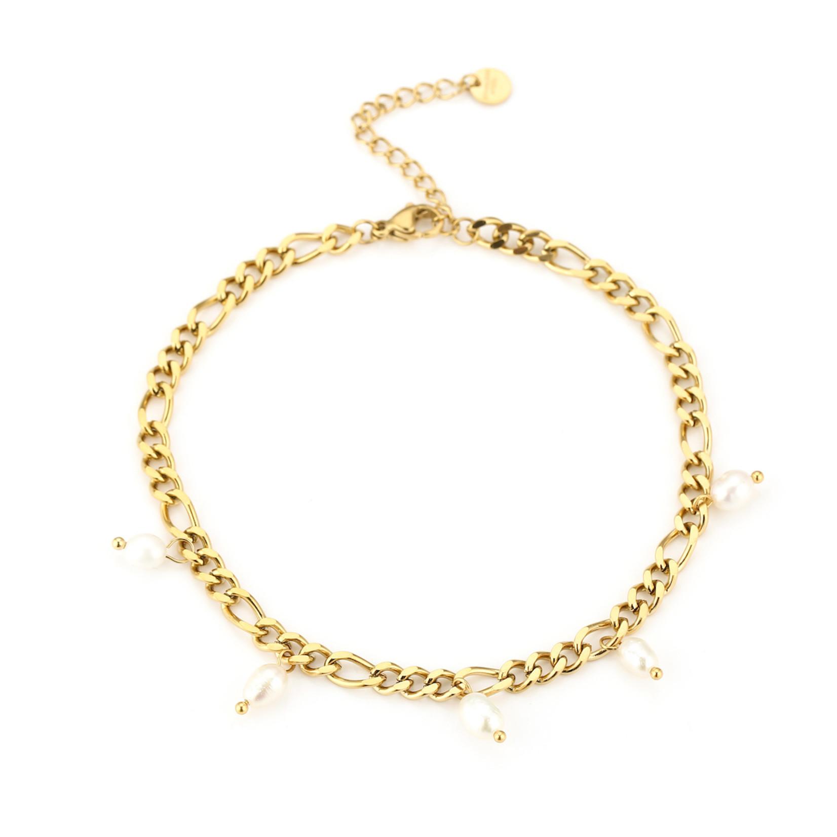 Sunset Fashion Enkelbandje Pearl - goud