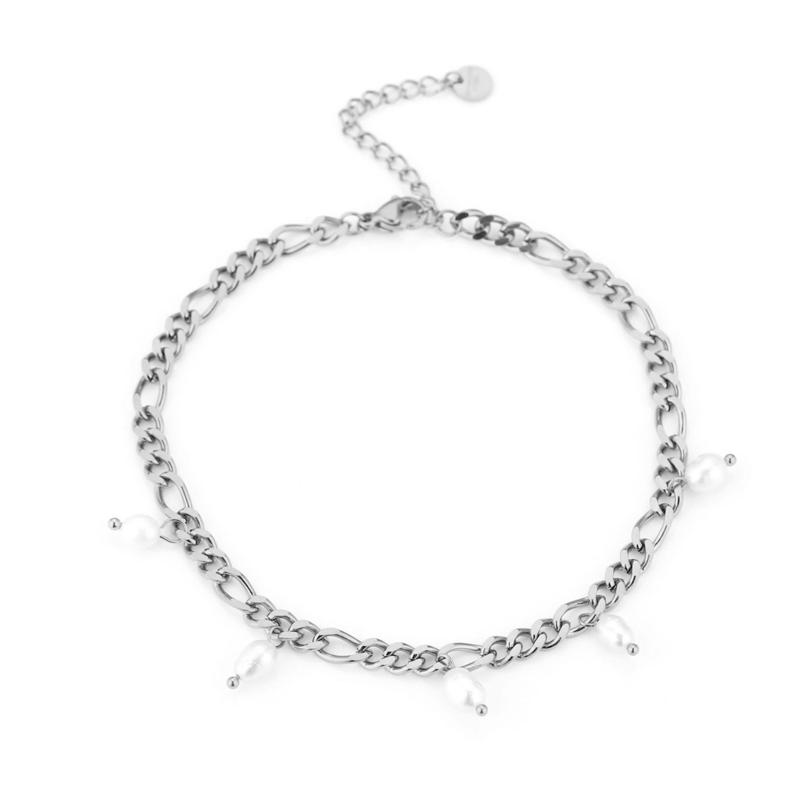 Sunset Fashion Enkelbandje Pearl - zilver