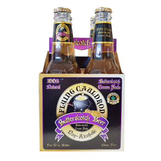 HARRY POTTER FLYING CAULDRON BUTTERSCOTCH BEER SODA 4 Pack
