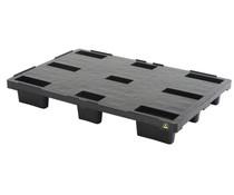 Palette export en plastique ESD 1200x800x155 • Plancher supérieur plein