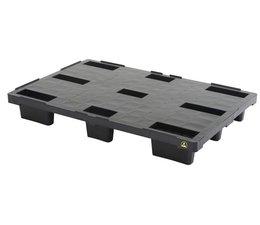 Palette export emboitable en plastique ESD 1200x800x155 • Plancher supérieur plein • palette légère