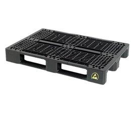 ESD-veilige Kunststof Euro pallet • 1200x800x150 • zwaarlast met 3 onderlatten • rackable