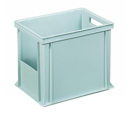 Eurocontainer 400x300x320 mm solid wall with open front, heavy duty, food proved plastic