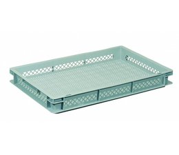 Eurocontainer 600x400x73 mm perforated walls and bottom, heavy duty, food proved plastic