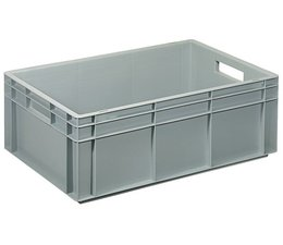 Eurocontainer 600x400x220 mm solid walls and bottom, heavy duty, food proved plastic
