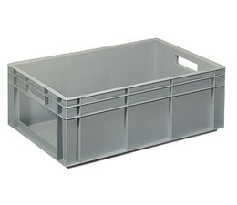 Eurocontainer 600x400x220 mm solid wall with open front, heavy duty, food proved plastic