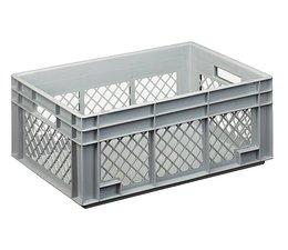 Eurobehälter 600x400x236 mm durchbrochene Wände, geeignet für schwere Lasten und Lebensmittekontakt