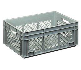 Bac norme Europe 600x400x236 mm fond et parois perforés, pour charges lourdes et usage alimentaire