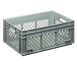 Eurocontainer 600x400x236 mm perforated walls and bottom, heavy duty, food proved plastic