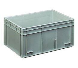 Eurocontainer 600x400x280 mm solid walls and bottom, heavy duty, food proved plastic