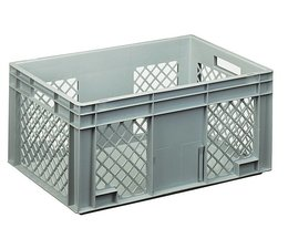 Eurocontainer 600x400x280 mm perforated side walls, heavy duty, food proved plastic