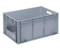 Euro container 600x400x280 solid wall with open front
