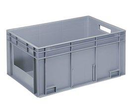 Bac norme Europe 600x400x280 mm parois pleines et front ouvert, pour charges lourdes et usage alimentaire